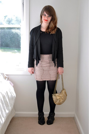 pink beaded modcloth skirt - black silky Country Road blazer