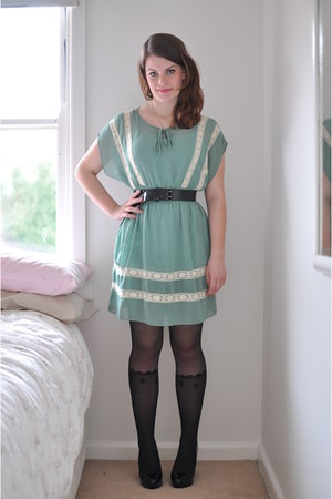 aquamarine refresh mint modcloth dress - black faux sock Sportsgirl tights - bla