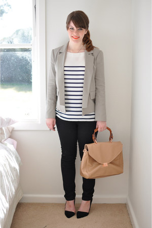 black leather Zara shoes - black denim Sportsgirl jeans - gray Witchery blazer -