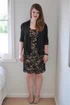 black lace Witchery dress - black ruffle Country Road blazer