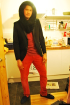 black Zara scarf - black Zara blazer - red Gap t-shirt - red H&M jeans - blue To