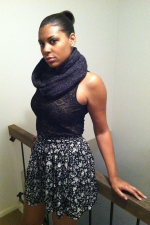 black lace shirt - dark gray scarf - black skirt