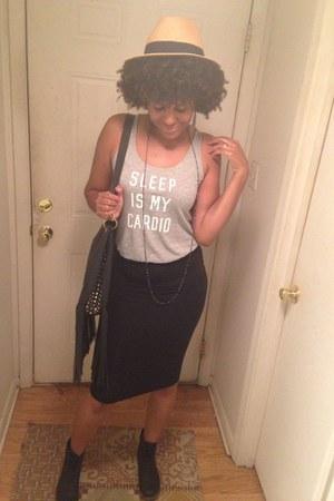 Forever 21 skirt - leather zigi girl boots - panama hat hat