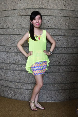 skirt - watch - neon yello top top - sandals - necklace