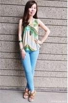 green bracelet - light blue jeans - yellow top - bronze necklace - camel wedges