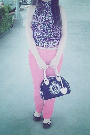 pink juicy cou bag - pink top - pink hot pink Promod pants - black flats
