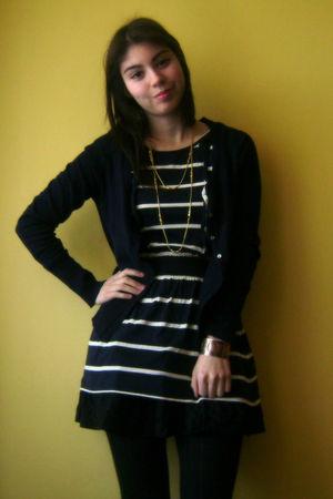 blue Topshop dress - black Roxy skirt - black H&M tights - blue Zara cardigan -