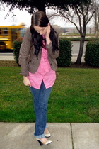 brown American Eagle jacket - brown Fendi purse - pink Bebe top - blue Bebe jean
