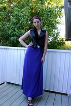 black Abbey Dawn vest - silver Forever21 necklace - purple weavers dress - silve
