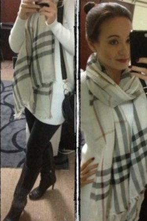 Burberry scarf - black Bally boots - white jumper dress dress - black leggings