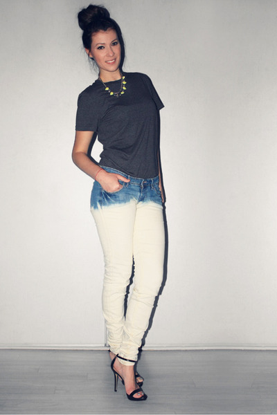 Black And White Dip Dye White Dip Dye by me H&m Jeans