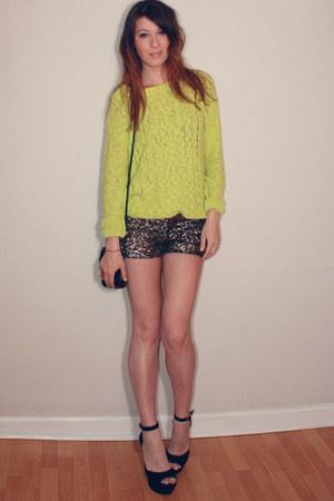 Zara shorts - asos bag - Steve Madden heels - Urban Outfitters jumper