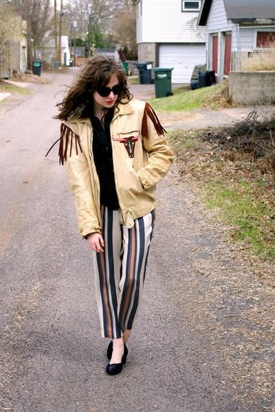 tan leather fringed vintage jacket - beige striped ann taylor pants
