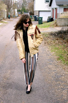 tan leather fringed vintage jacket - beige striped ann taylor pants