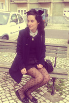 black Zara coat - black Primark tights - black H&M skirt - white Stradivarius bl