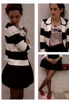 black Zara blazer - red Stradivarius t-shirt - black H&M skirt