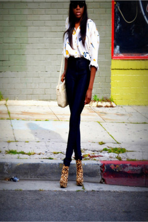 vintage bag - vintage blouse - American Apparel pants