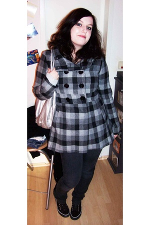 Tally Weijl coat - thrifted t-shirt - Accessorize purse - Accessorize necklace -