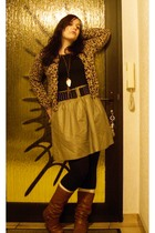 beige H&M cardigan - gold Vero Moda skirt - black H&M belt - Accessorize accesso