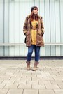 Brown-vila-jacket-yellow-only-blouse-maroon-h-m-cardigan