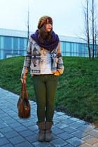 camel Esprit jacket - mustard Zara hat - white owl print H&M shirt