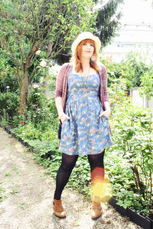 brown Primark boots - sky blue Chillin dress - eggshell H&M hat