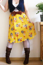 yellow flower garden The Little Owl Vintage skirt
