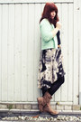 Gray-promod-skirt-light-brown-deichmann-boots-aquamarine-primark-cardigan