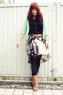 Light-brown-deichmann-boots-gray-promod-skirt-aquamarine-primark-cardigan