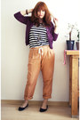 Light-brown-esprit-pants-white-h-m-shirt-purple-h-m-cardigan