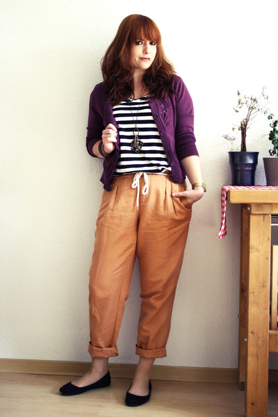light brown Esprit pants - white H&M shirt - purple H&M cardigan