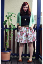 light pink c&a skirt - black H&M shirt - green Primark cardigan