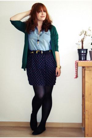 navy Mango skirt - sky blue H&M shirt - dark green Zara cardigan