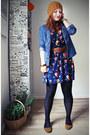 Blue-primark-dress-mustard-zara-hat-sky-blue-h-m-shirt-brown-vintage-belt