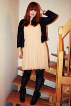 nude Promod dress - black studded New Yorker boots - black sequined H&M cardigan