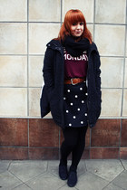brick red Pull & Bear shirt - dark gray H&M coat - black H&M skirt