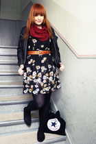 ruby red thrifted scarf - black Primark dress - black New Yorker jacket