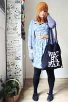 mustard Zara hat - sky blue Chillin dress