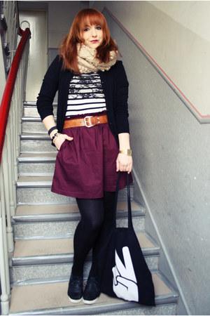 maroon H&M skirt - camel Esprit jacket - black Promod shirt