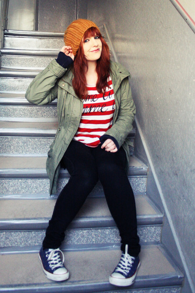 red Monki shirt - navy Converse shoes - mustard Zara hat