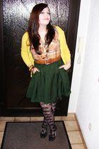 orange Miss Selfridge shirt - yellow H&M cardigan - black Accessorize tights
