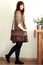 Light-yellow-promod-dress-brown-asos-bag-light-brown-h-m-cardigan