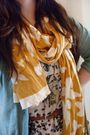 Yellow-ebay-scarf-white-h-m-dress-beige-roxy-purse