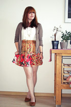 tawny Vero Moda skirt - light brown H&M cardigan - white H&M top