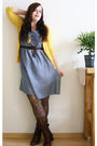 Blue-h-m-dress-brown-vintage-from-ebay-boots