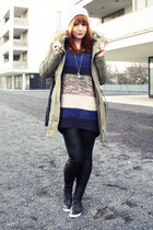 blue H&M sweater - heather gray Kleiderkreisel hat - army green Only jacket