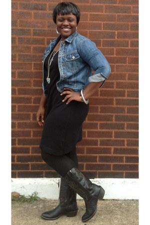 black cowboy boots - black dress - denim jacket