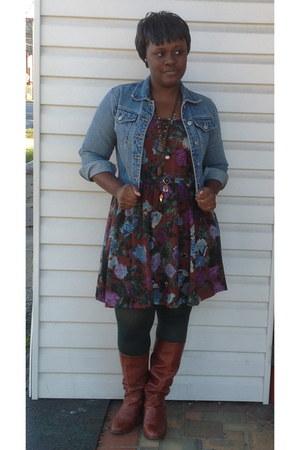 floral dress - vintage boots - denim jacket - dark green tights