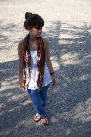 earrings - pull&bear shirt - Zara shoes - Stradivarius scarf