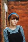Blue-h-m-hat-black-thrifted-boots-black-thrifted-vintage-dress